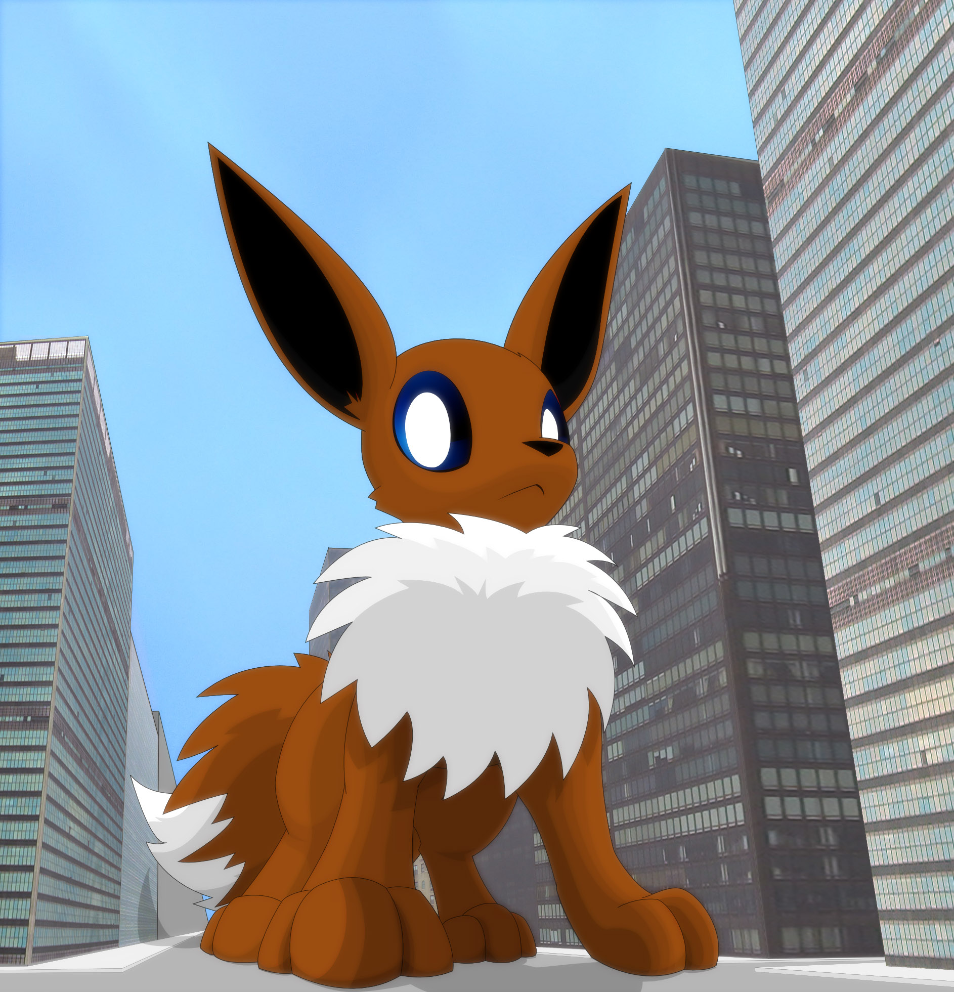 Hlavco Art Giant Eevee Conveniently Takes The World S Widest Road
